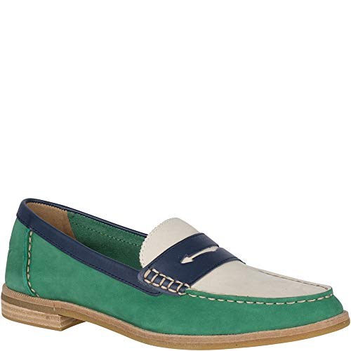 (Sperry Top-Sider Seaport Tri Tone Penny Loafer Women 7 Green/Navy/White)