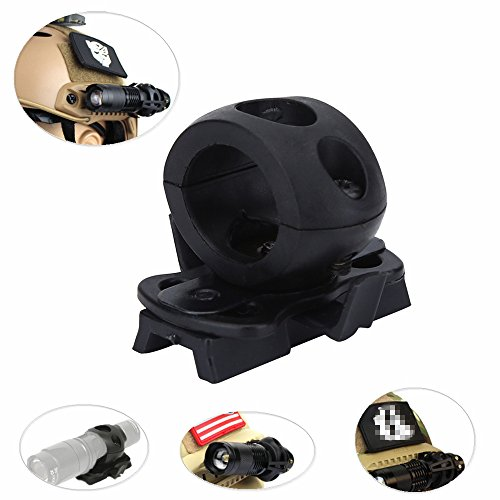 - Helmet Flashlight Holder Mount - Tactical Airsoft Quick Release Flashlight Clamp Fit FAST Helmet Rail - Portable Plastic Torch Mount Flashlight Holder Bracket for Helmet (Black)