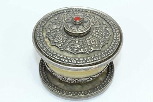 PH Artistic Orient Collectible Handwork Carving Tibetan Silver Bowl Cap Yellow Jade Stone