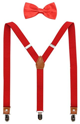 Suspenders And Pre-Tied Bowtie Set For Boys And Men By JAIFEI, Casual And Formal (Men(47 inches), Red)