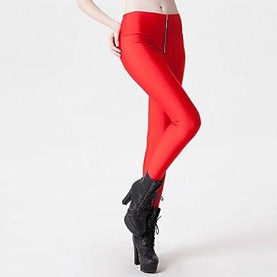 MAYUAN520 Élastique taille haute Pantalon de Yoga avant fermeture Éclair Femmes collants Leggings Sport couleur bonbon Skinny Pantalon sport Fitness Fitnes