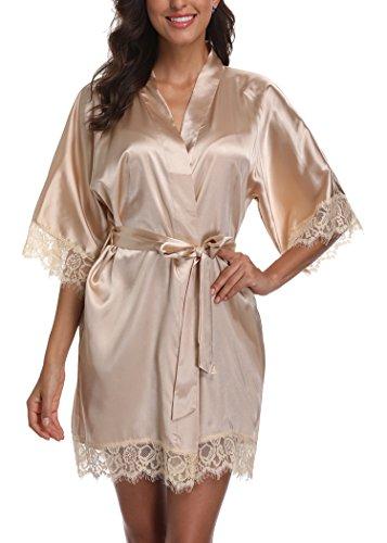 Short Satin Kimono Robes Women Pure Color Bridemaids Bath Robe with Lace Trim,Khaki S