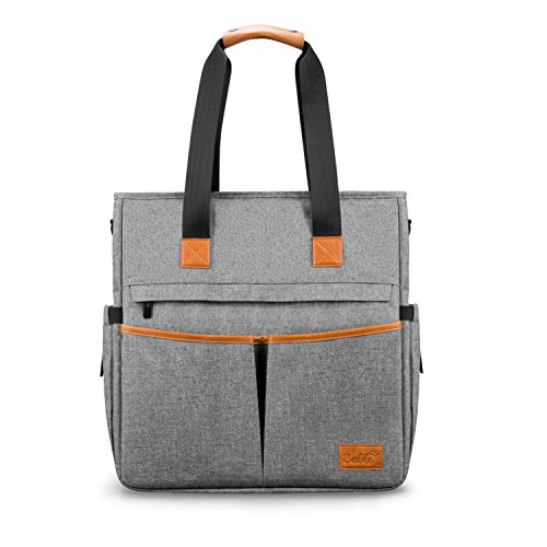 Changing Diaper Bag Tote Multi-Function - Unisex Large Nappy Bag Leather Handle with Changing Mat Shower Gifts for Mom Dad Travel 13 Pockets (Gray)