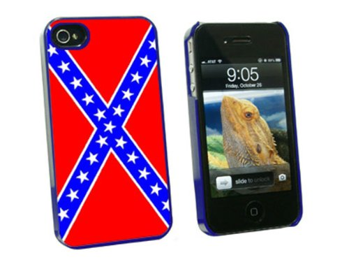 Graphics and More Rebel Confederate Flag - Snap On Hard Protective Case for Apple iPhone 4 4S - Blue - Carrying Case - Non-Retail Packaging - Blue