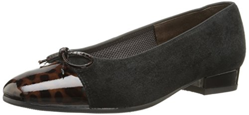 ara Women's Bel Dress Pump, Black Suede/Brown Patent Toe, 9 M US ()