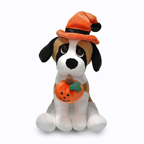 Plushland Halloween Pawpals 8 inches Puppy Dog Plush Stuffed Toy Comes with Hat and Halloween Jack O Lantern - Pumpkin for Kids on This Holiday (Beagle)