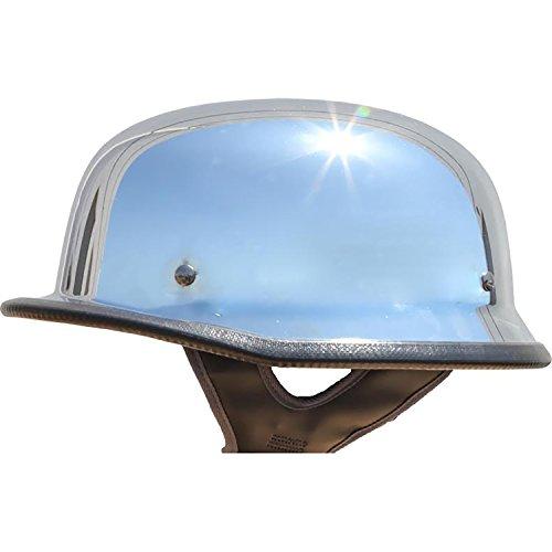 Low Profile German Half Helmet Open Face Cruiser Chopper Biker Helmet (Chrome, L) (Chrome Chopper)