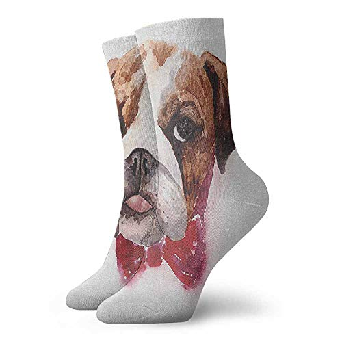 - Sports socks Watercolor Dog Portrait with a Bow Tie Design Brush Stroke Effect Suitable for young people