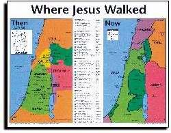 Jesus Wall Chart - Where Jesus Walked: Then and Now: Wall Chart 20x26 Inches Laminated