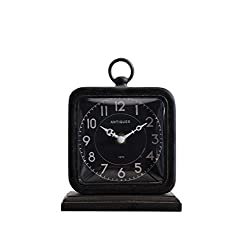 Creative Co-op Black Pewter Table Clock