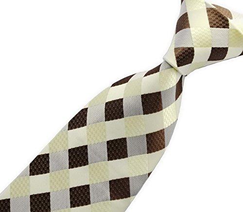 Scott Alone : New Classic Checks Jacquard Woven Silk Men's Tie Necktie (Beige) (Check Scott)