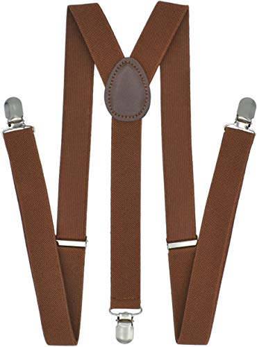 Trilece Suspenders for Men - Adjustable Elastic Y Back Style Suspender - Strong Clips (Brown) -