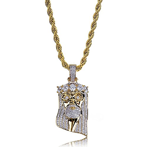 TOPGRILLZ Men 14K Gold Plated Iced out CZ Simulated DIamond Big Stones Crown Jesus Piece Pendant Necklace with Stainless Steel Chain Hip Hop (5 Big Stones) - Diamond Jesus Pendant