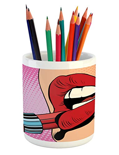 Ambesonne Lips Pencil Pen Holder, Retro Comic Pop Art Girl Applying Red Lipstick Makeup Concept Halftone Background, Printed Ceramic Pencil Pen Holder for Desk Office Accessory, - Applying Lipstick