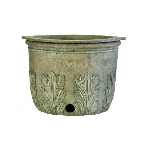 22 in. Round Granite Cast Stone Hose Pot and Planter