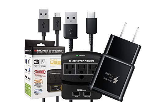 Official OEM Samsung Adaptive Fast AFC Charger Kit - with Micro/C-Type USB -Outlets 2USB Slot MPX350 (Retail Packing)