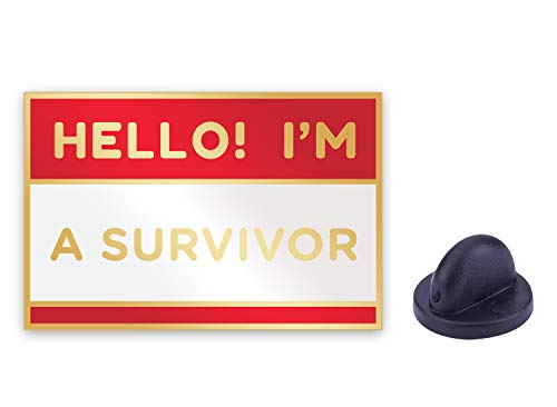 Cool Inspirational Message Lapel Pin for Shirt Hat Jacket Hooddie (Hello! I'm a Survivor)