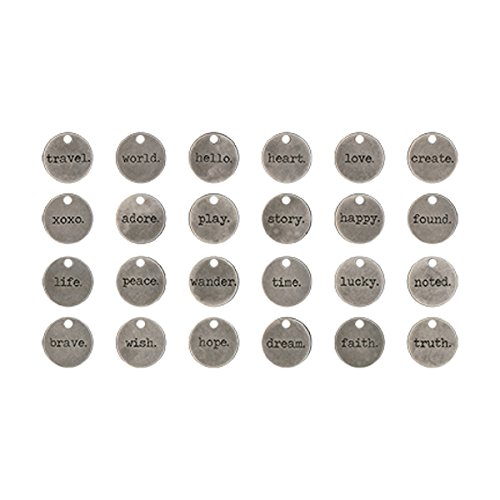 typed-tokens-by-tim-holtz-idea-ology-pack-of-24-antique-nickel-finish-th93203