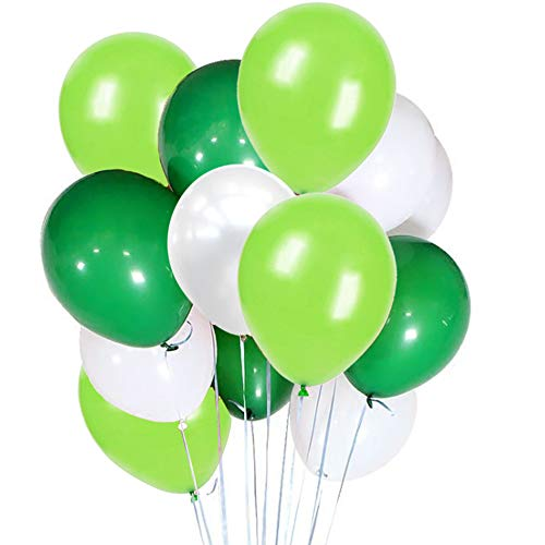 FUNPRT 10 Inch White Light Green Dark Green Latex Balloons 100 Count for Wedding Birthday Party Baby Shower Decoration