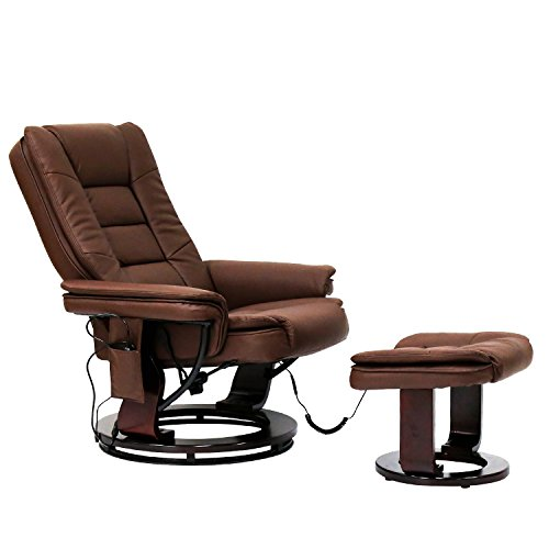 Peach Tree Contemporary Leather Lounge Swivel and Massage Recliner Chair with Foot Stool Ottoman (Brown) - Leather Recliner Footstool