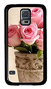 Light Pink Roses Black Hard Case Cover Skin For Samsung Galaxy S5 I9600 by supermalls