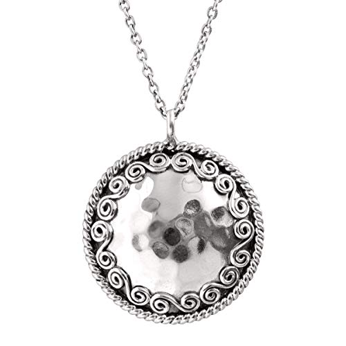 (Silpada 'Circle' Hammered Swirl Pendant Necklace in Sterling Silver)