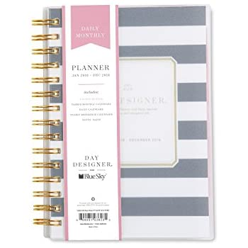 "Day Designer for Blue Sky 2018 Daily & Monthly Planner, Twin-Wire Binding, 5"" x 8"", Navy Stripe"