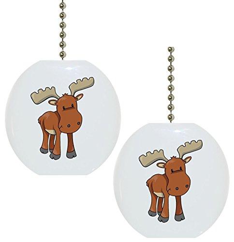 - Set of 2 Baby Moose Ceramic Fan Pulls