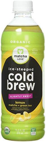 Matcha Love Cold Brew Slightly Sweet Lemon Matcha Plus Green Tea 15.9 Ounce Bottle (Pack of 12) Cane-Sugar Sweetened No Artificial Sweeteners USDA Certified Organic Caffeinated