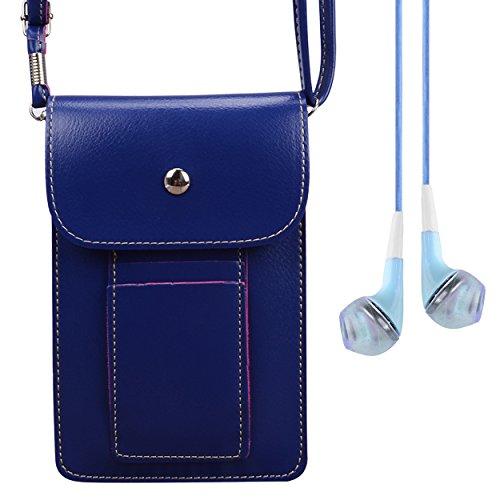 Vangoddy Earphone + Universal PU Leather Mini Slim Wallet Purse Case Crossbody Shoulder Bag for Samsung Galaxy S8+ / S8 / J7 V / C5 C7 Pro / J3 Emerge / Xcover 4 / A5 A7 2017 / Amp Prime 2 (Blue)