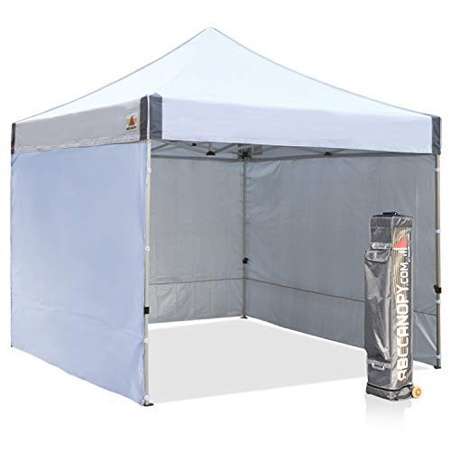 ABCCANOPY Aluminum Canopy Tent Walls 10x10 Deluxe Pop up Instant Shelter Bonus Tent Stakes Ropes, Roller Bag