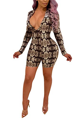 Womens Sexy Long Sleeve Snake Skin Print Bodysuit Jumpsuits V Neck Short Pants Rompers Clubwear Plus -