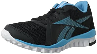 Reebok Women's RealFlex Advance Training Shoe,Black/Blue Blink/White,8 M US