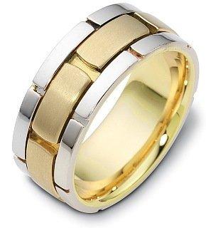 Titanium Ring Dora (9mm Titanium & 14 Karat Yellow Gold Designer Link Style Wedding Band - 5.5)