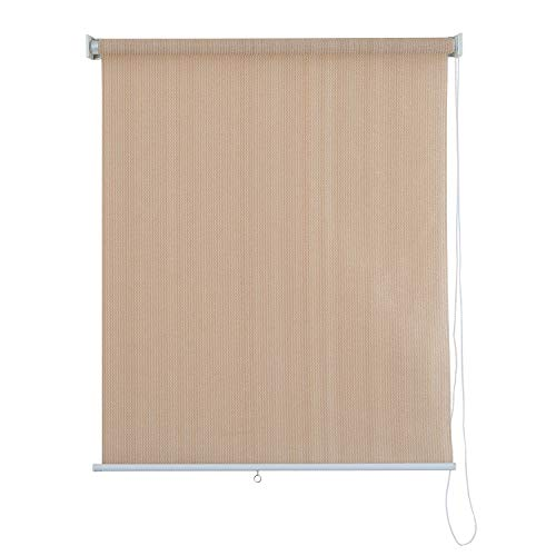 PHI VILLA Outdoor Patio Sun Shade Roller Shade 4ft(W) by 6ft(H) Wheat (4 Ft Patio)