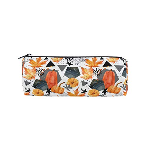 TFONE Pumpkin Fall Leaves Thanksgiving Theme Pencil Case Holder with Zipper Pen Pouch Makeup Bag for School Office -
