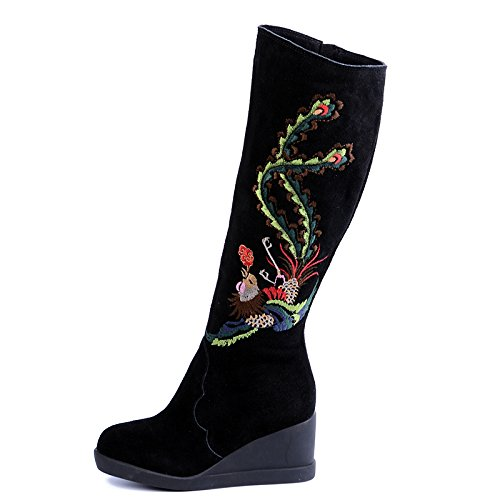 KHSKX-The Children Of The Autumn And Winter National Wind Boots The Thick Bottom Of The Snow Boots The Embroidered Shoes And The High Boots Black x3Xvw9zRLs