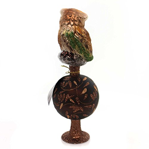 Glass Inge Glas Up in the Tree Tops Owl Bird German Christmas Tree Topper New by Inge-Glas (Image #1)