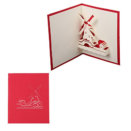 Price comparison product image Allrise Handmade 3D Pop Up Greeting Cards, Romantic Windmill Anniversary Valentine's Day