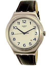 Swatch Men's Four Thirty YWS416 Silver Leather Swiss Quartz Watch