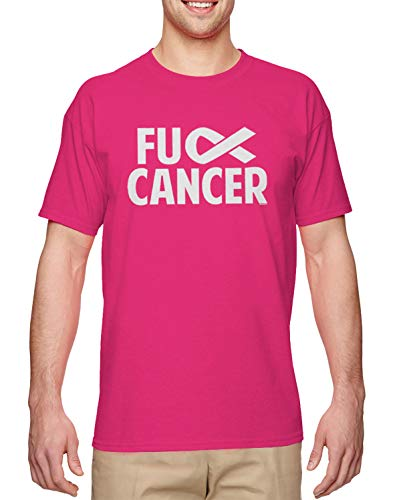 HAASE UNLIMITED Fuck Cancer - Raise Awareness Fight Cure Men's T-Shirt (Pink, Medium)