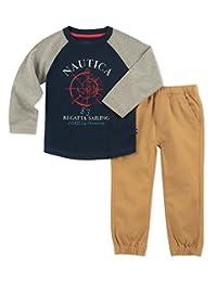 Nautica Sets (KHQ) (RJ7QG) pantalón de 2 Piezas para niños, Gris/Azul Marino, 3 Años