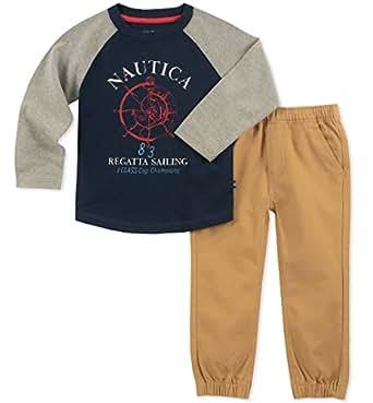 Nautica Sets (KHQ) (RJ7QG) Kids and Baby 2 Pieces Tee Pants, Gray/Navy, 3-6 Months