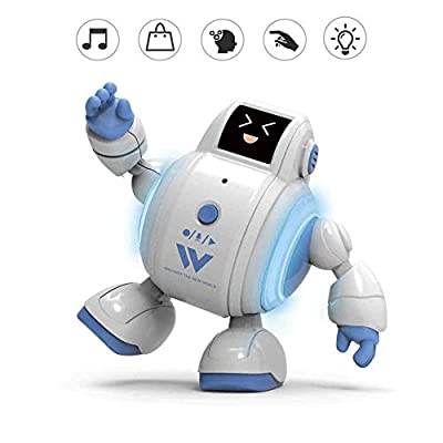 Talking Interactive Robot Kids Toys, Touch-Sensitive Magic Sound Effects with Repeats your Said Voice Have Cute Expressions and Lights and Music Mini Smart Robots, Birthday Gift for Boys and Girls