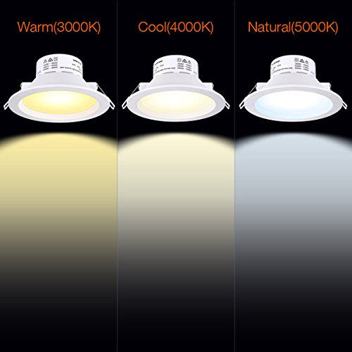 6'' LED Recessed Light with J-Box Adjustable Color Temp 10W Non-Dimmable LED Downlight for 100W Replacement, 1100 Lumens, 3000K/4000K/5000K, AC Power Plug, IC-Rated and Air Tight - Pack of 4 by Miady (Image #3)