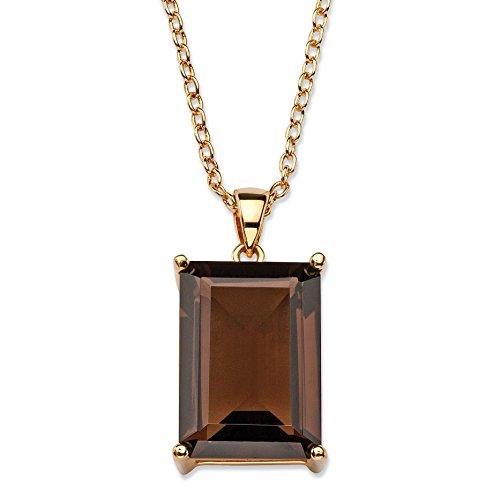 Palm Beach Jewelry Emerald-Cut Genuine Smoky Topaz 14k Gold-Plated Hand-Cut Pendant Necklace 16