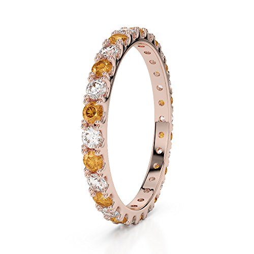 Or Rose 18carats 0,34CT G-H/VS sertie de diamants ronds Cut Citrine et éternité Bague Agdr-1120