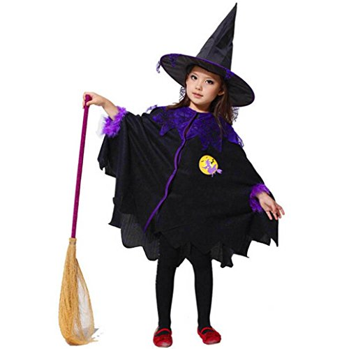 Black Feather Sparkle Broom (WensLTD Toddler Kids Baby Girls Halloween Costume Dress Party Cloak+Hat Outfit Clothes (9-10T, Black))