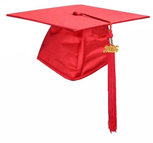 GraduationMall Shiny Finish Kindergarten Graduation Cap with Tassel 2015 Red (Kids Graduation Hat)