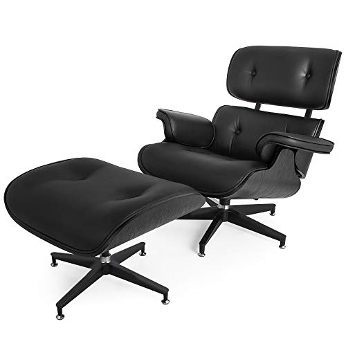 Mophorn Lounge Chair with Ottoman Mid Century Modern Replica Style Recliner Chair High Grade All Black PU Leather Recliner Armchair with Foot Stool Footrest Living Room Furniture Set (All Black) (Ottoman Modern Chair)